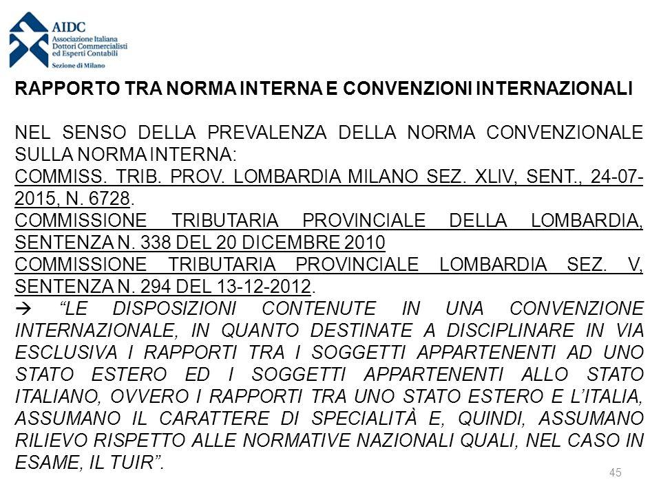 RAPPORTO TRA NORMA INTERNA E CONVENZIONI INTERNAZIONALI NEL SENSO DELLA PREVALENZA DELLA NORMA CONVENZIONALE SULLA NORMA INTERNA: COMMISS. TRIB. PROV.