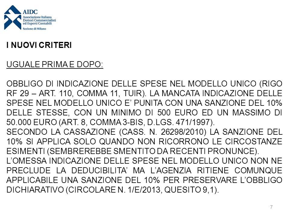 I NUOVI CRITERI UGUALE PRIMA E DOPO: OBBLIGO DI INDICAZIONE DELLE SPESE NEL MODELLO UNICO (RIGO RF 29 – ART.