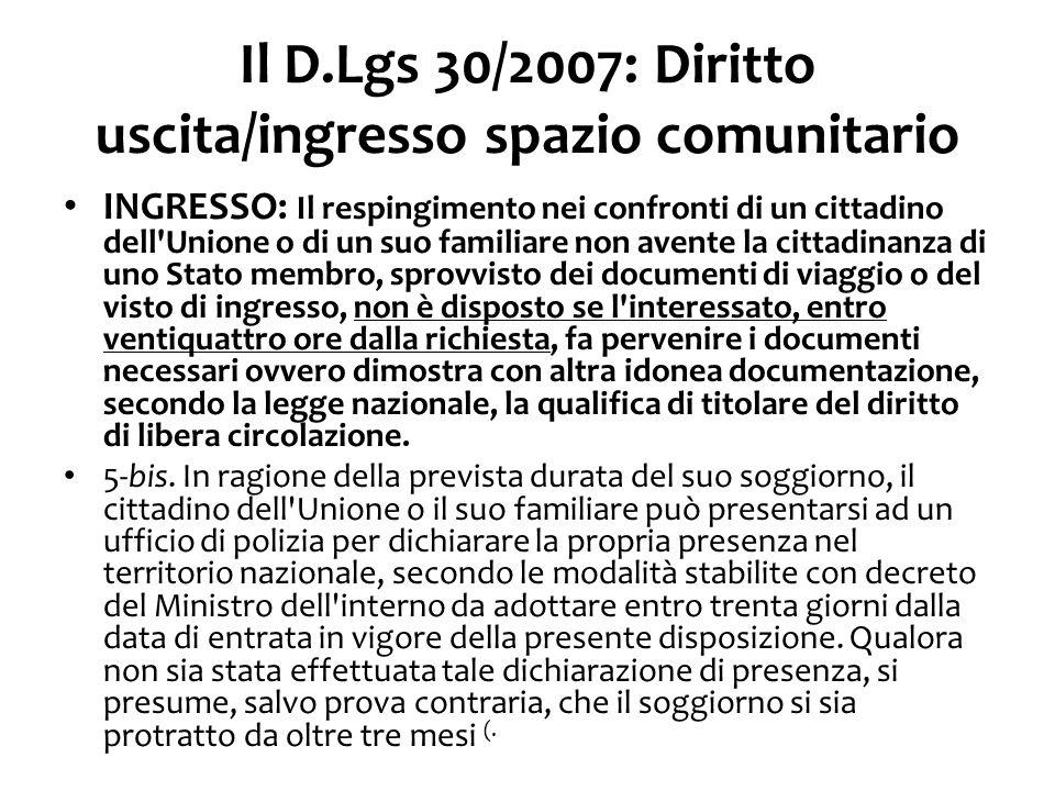 D.Lgs 30/2007: diritto di soggiorno fino a 3 mesi 1.