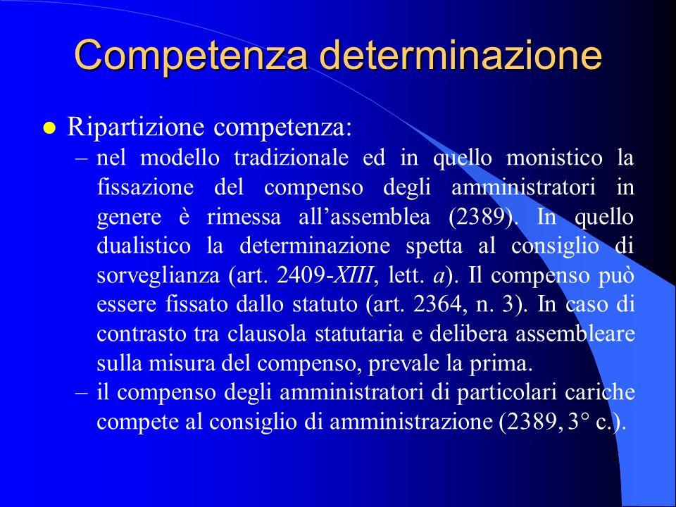 Competenza determinazione l Ripartizione competenza: –nel modello tradizionale ed in quello monistico la fissazione del compenso degli amministratori