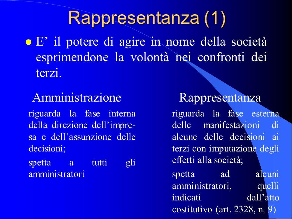 Rappresentanza (1) l E' il potere di agire in nome della società esprimendone la volontà nei confronti dei terzi. Amministrazione riguarda la fase int
