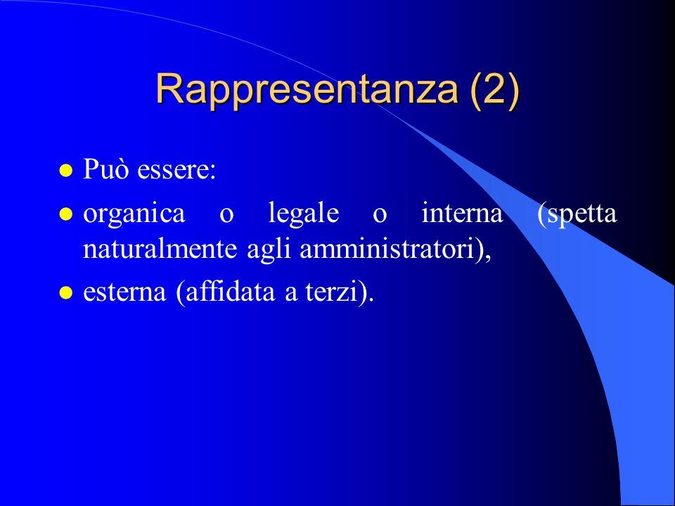 Rappresentanza (2) l Può essere: l organica o legale o interna (spetta naturalmente agli amministratori), l esterna (affidata a terzi).