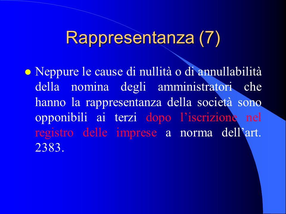 Rappresentanza (7) l Neppure le cause di nullità o di annullabilità della nomina degli amministratori che hanno la rappresentanza della società sono o