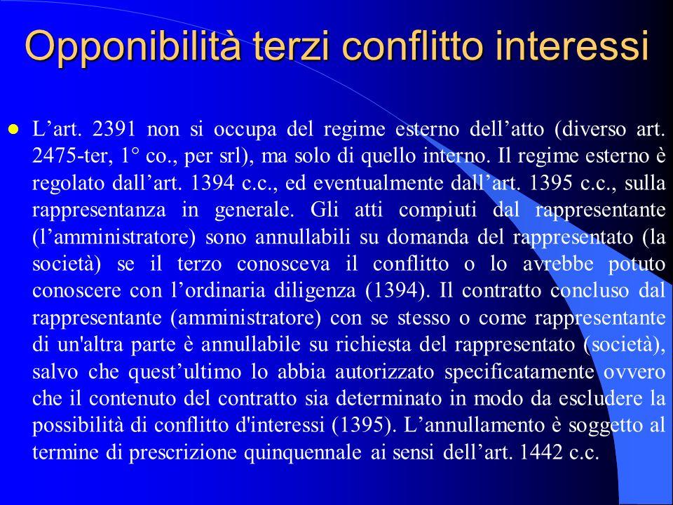 Opponibilità terzi conflitto interessi l L'art. 2391 non si occupa del regime esterno dell'atto (diverso art. 2475-ter, 1° co., per srl), ma solo di q