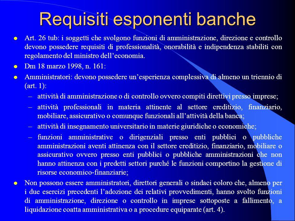Requisiti esponenti banche l Art. 26 tub: i soggetti che svolgono funzioni di amministrazione, direzione e controllo devono possedere requisiti di pro