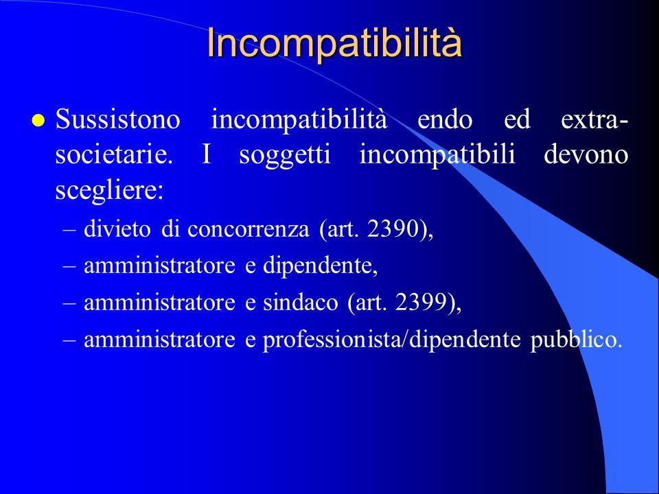 Incompatibilità l Sussistono incompatibilità endo ed extra- societarie. I soggetti incompatibili devono scegliere: –divieto di concorrenza (art. 2390)