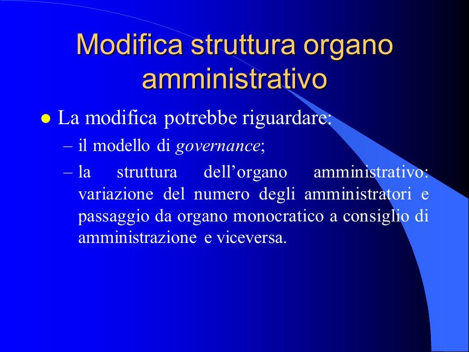 Modifica struttura organo amministrativo l La modifica potrebbe riguardare: –il modello di governance; –la struttura dell'organo amministrativo: varia