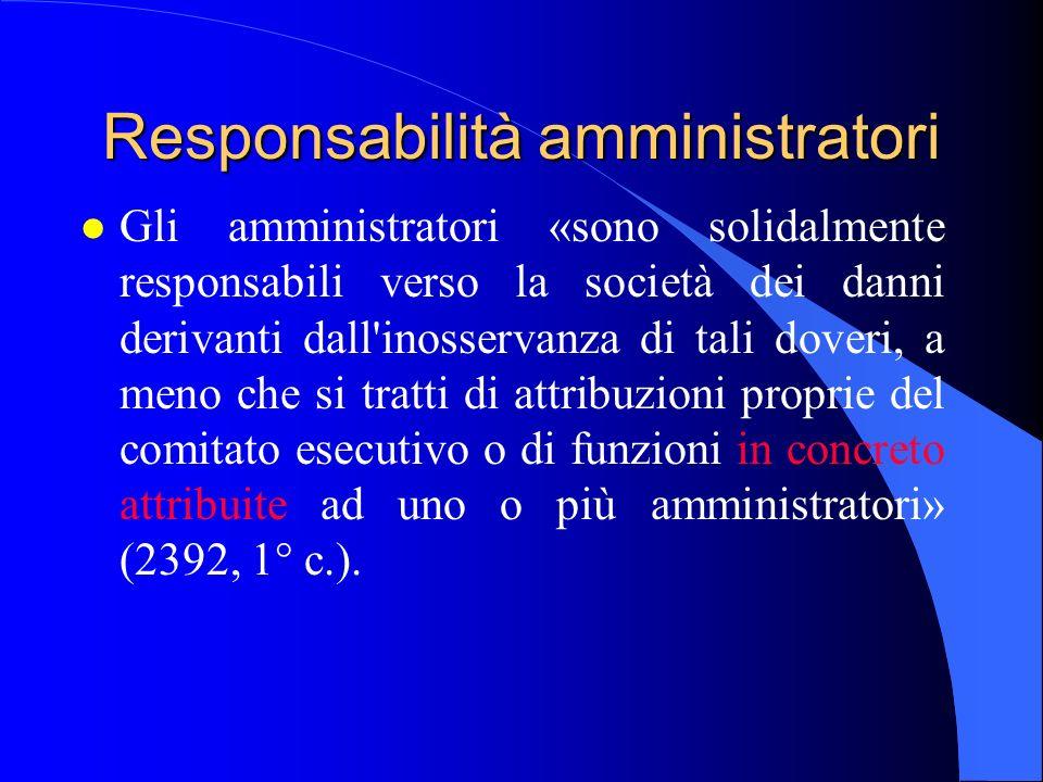 Responsabilità amministratori l Gli amministratori «sono solidalmente responsabili verso la società dei danni derivanti dall'inosservanza di tali dove