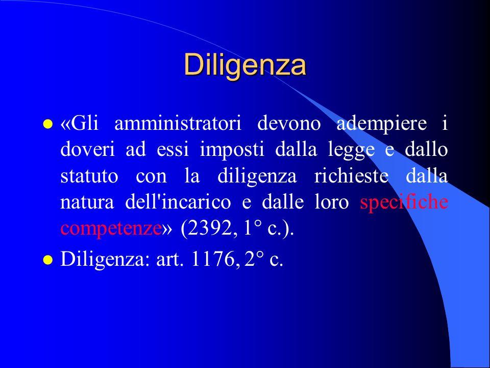 Diligenza l «Gli amministratori devono adempiere i doveri ad essi imposti dalla legge e dallo statuto con la diligenza richieste dalla natura dell'inc