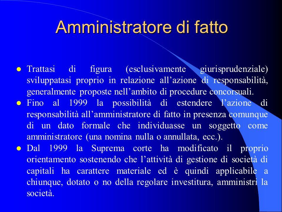 Amministratore di fatto l Trattasi di figura (esclusivamente giurisprudenziale) sviluppatasi proprio in relazione all'azione di responsabilità, genera