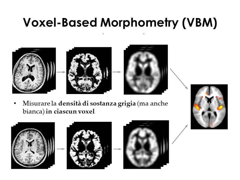 Voxel-Based Morphometry (VBM) Misurare la densità di sostanza grigia (ma anche bianca) in ciascun voxel