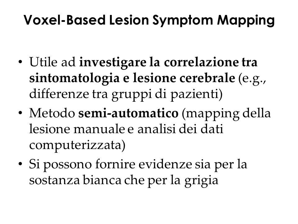Utile ad investigare la correlazione tra sintomatologia e lesione cerebrale (e.g., differenze tra gruppi di pazienti) Metodo semi-automatico (mapping della lesione manuale e analisi dei dati computerizzata) Si possono fornire evidenze sia per la sostanza bianca che per la grigia Voxel-Based Lesion Symptom Mapping