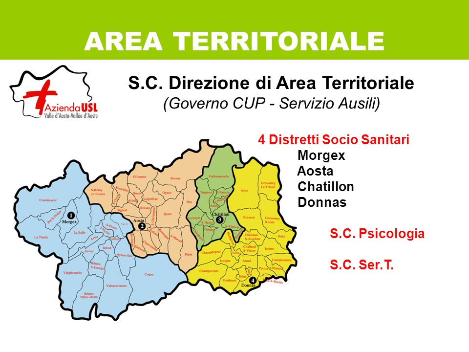 S.C. Direzione di Area Territoriale (Governo CUP - Servizio Ausili) 4 Distretti Socio Sanitari Morgex Aosta Chatillon Donnas S.C. Psicologia S.C. Ser.