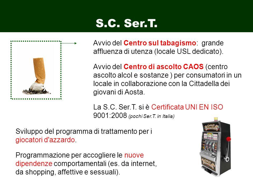 S.C. Ser.T. Avvio del Centro sul tabagismo: grande affluenza di utenza (locale USL dedicato). Avvio del Centro di ascolto CAOS (centro ascolto alcol e