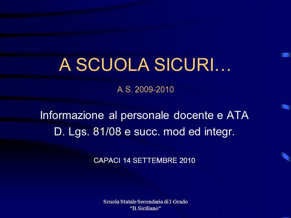 Scuola Statale Secondaria di I Grado B.Siciliano Segnali di Sicurezza Forma: quadrati Colore: verde o rosso