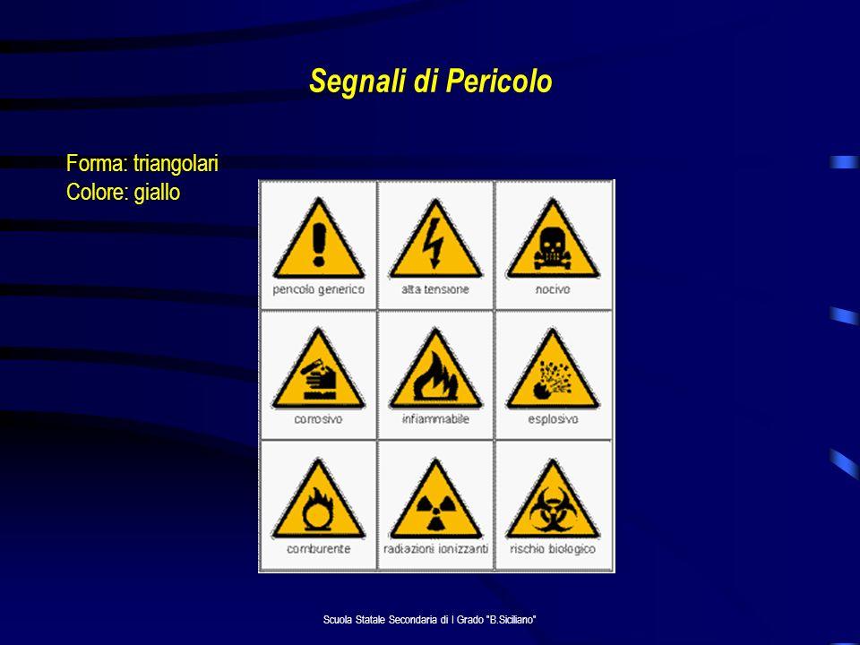 Scuola Statale Secondaria di I Grado B.Siciliano Segnali di Pericolo Forma: triangolari Colore: giallo