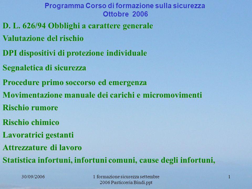 30/09/20061 formazione sicurezza settembre 2006 Pasticceria Bindi.ppt 1 Programma Corso di formazione sulla sicurezza Ottobre 2006 D. L. 626/94 Obblig
