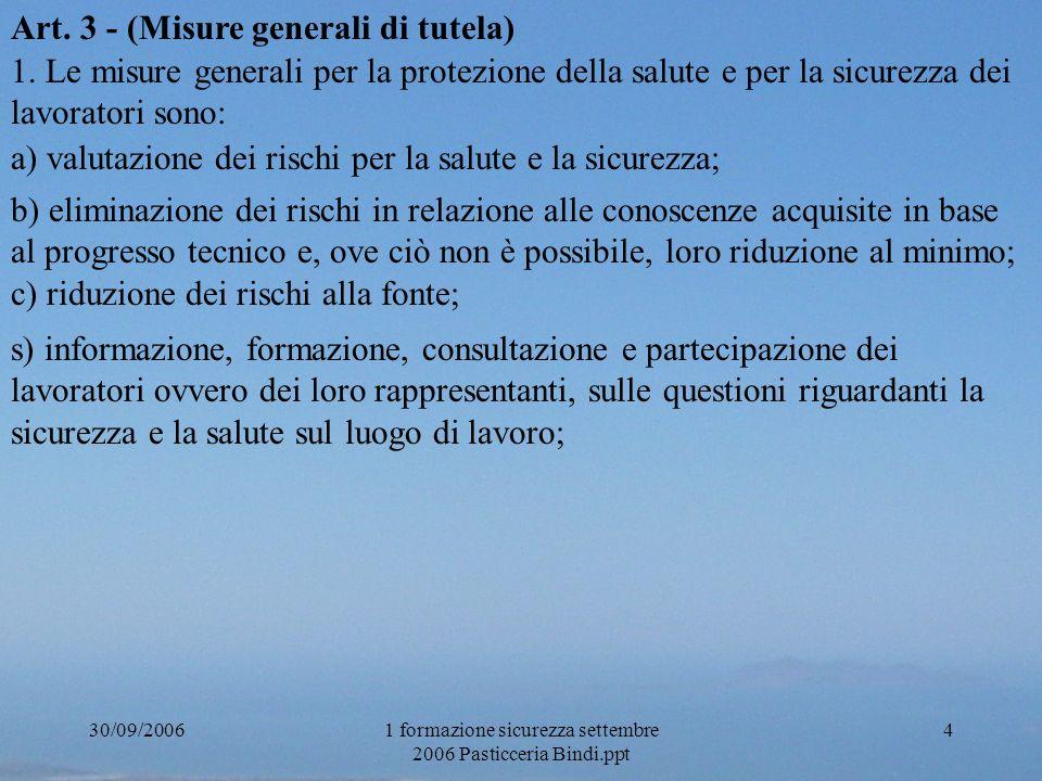 30/09/20061 formazione sicurezza settembre 2006 Pasticceria Bindi.ppt 4 Art. 3 - (Misure generali di tutela) 1. Le misure generali per la protezione d