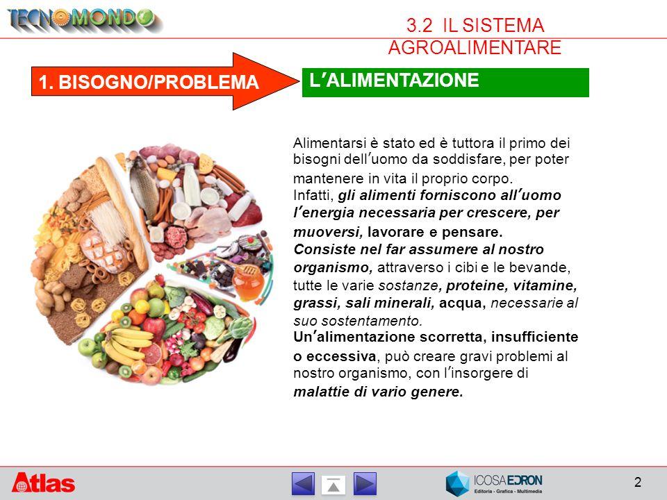 2 1. BISOGNO/PROBLEMA L'ALIMENTAZIONE Alimentarsi è stato ed è tuttora il primo dei bisogni dell'uomo da soddisfare, per poter mantenere in vita il pr