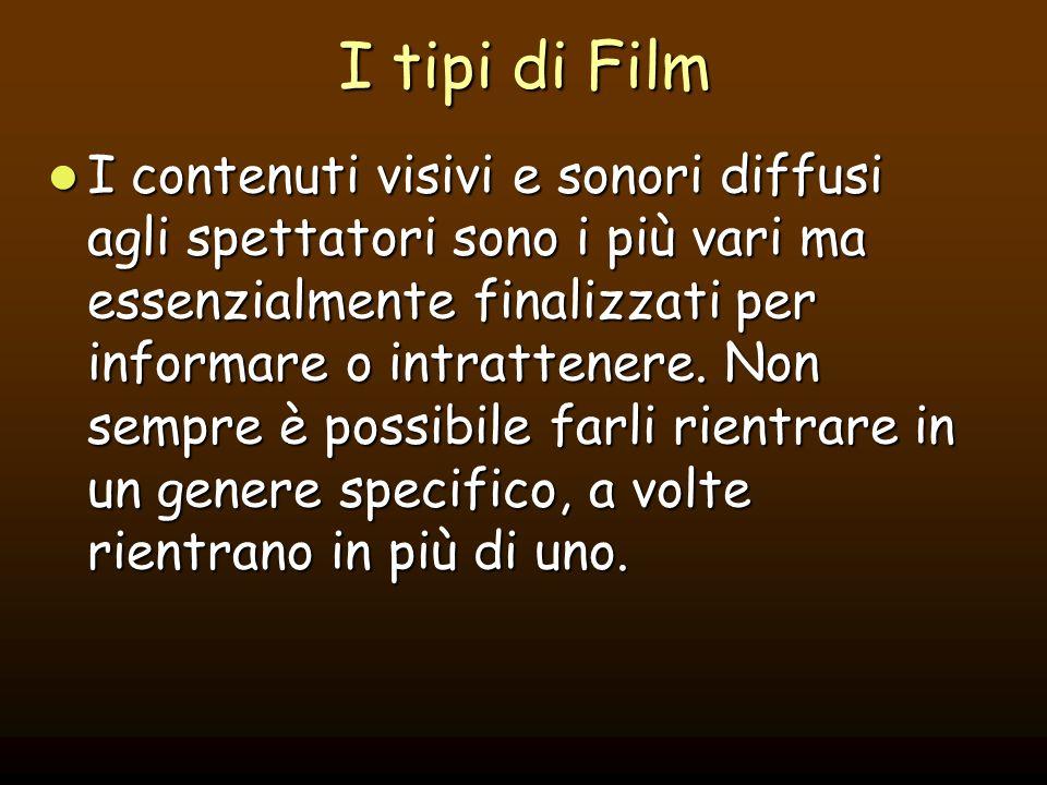 I tipi di Film I contenuti visivi e sonori diffusi agli spettatori sono i più vari ma essenzialmente finalizzati per informare o intrattenere. Non sem