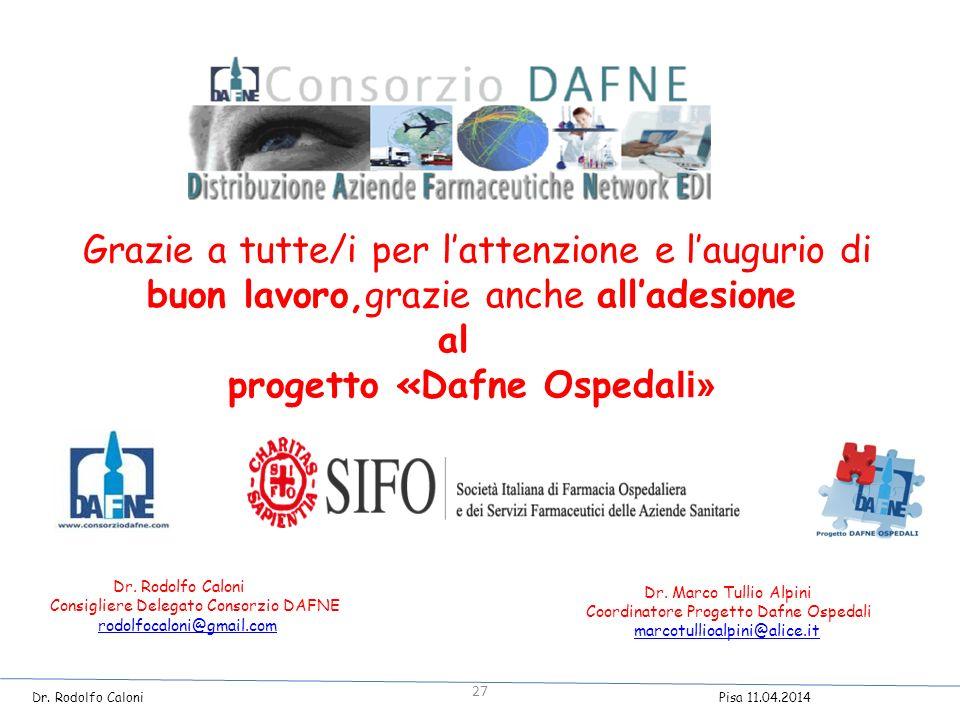 Grazie a tutte/i per l'attenzione e l'augurio di buon lavoro,grazie anche all'adesione al progetto «Dafne Ospeda li» Dr.