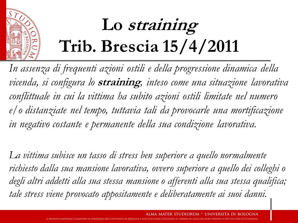 Lo straining Trib. Brescia 15/4/2011 In assenza di frequenti azioni ostili e della progressione dinamica della vicenda, si configura lo straining, int