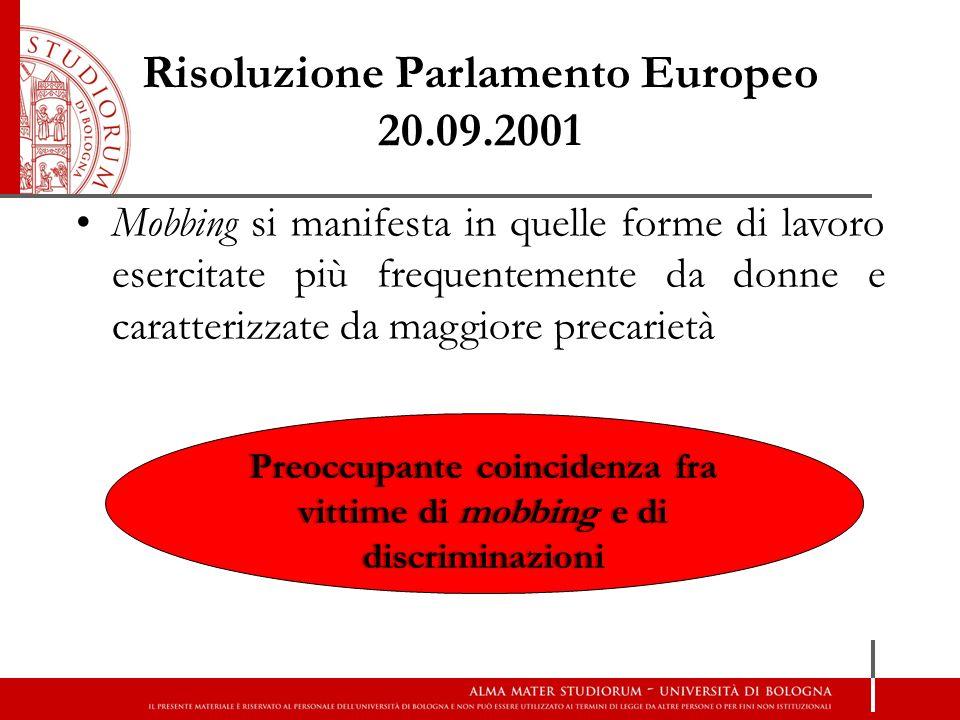 Risoluzione Parlamento Europeo 20.09.2001 Mobbing si manifesta in quelle forme di lavoro esercitate più frequentemente da donne e caratterizzate da ma