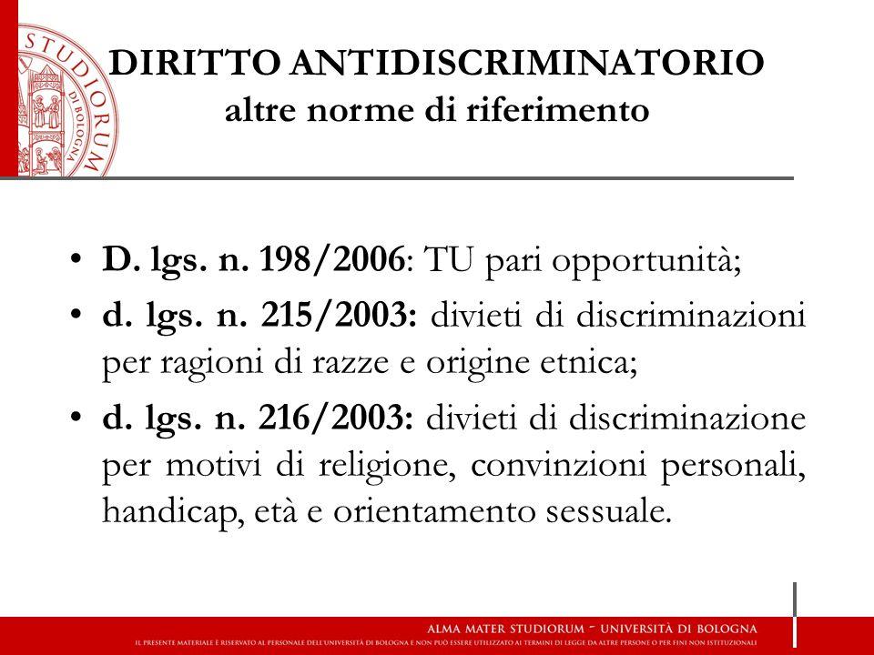 DIRITTO ANTIDISCRIMINATORIO altre norme di riferimento D. lgs. n. 198/2006: TU pari opportunità; d. lgs. n. 215/2003: divieti di discriminazioni per r