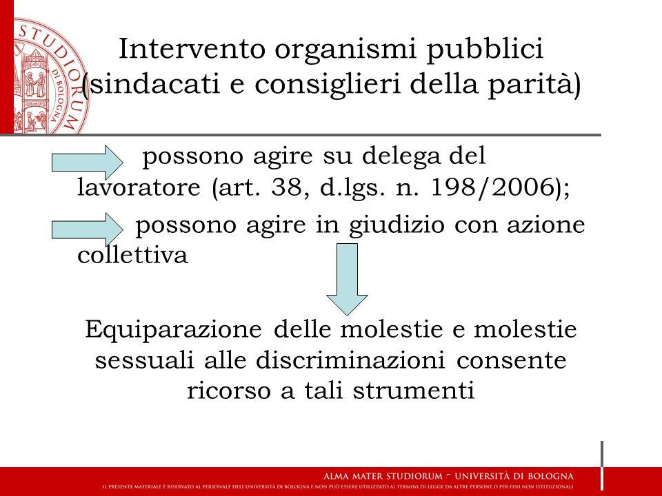 Intervento organismi pubblici (sindacati e consiglieri della parità) possono agire su delega del lavoratore (art. 38, d.lgs. n. 198/2006); possono agi