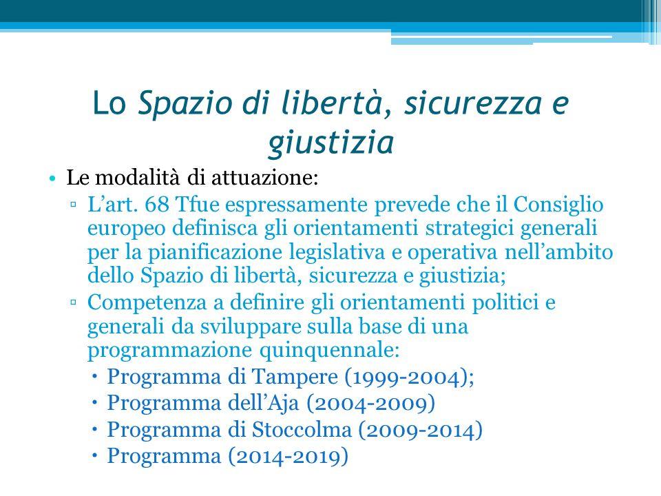 Lo Spazio di libertà, sicurezza e giustizia Natura delle competenze : ▫La competenza in questa materia è di natura concorrente.