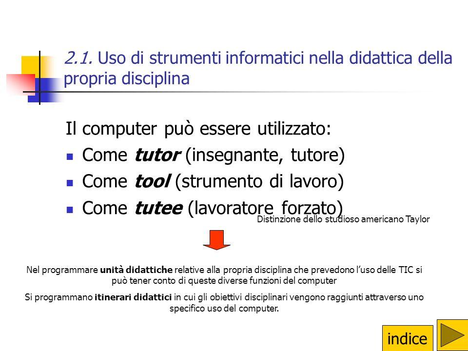 2.1. Uso di strumenti informatici nella didattica della propria disciplina Il computer può essere utilizzato: Come tutor (insegnante, tutore) Come too