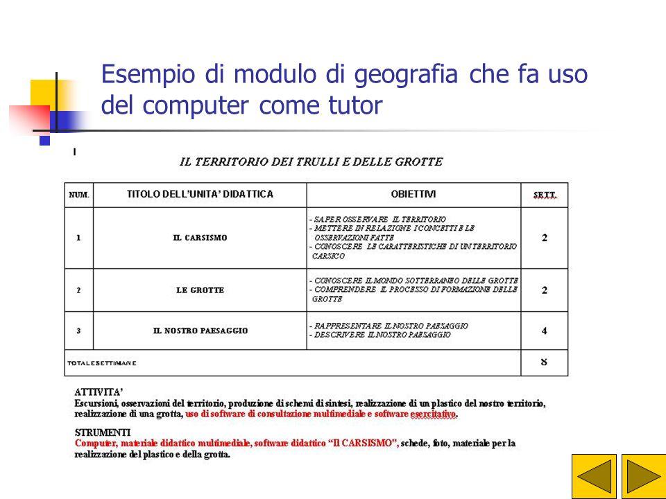 Esempio di modulo di geografia che fa uso del computer come tutor