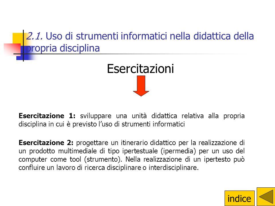 Esercitazione 1: sviluppare una unità didattica relativa alla propria disciplina in cui è previsto l'uso di strumenti informatici Esercitazione 2: pro