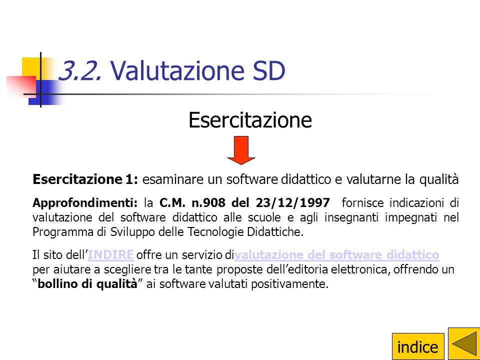 Esercitazione 1: esaminare un software didattico e valutarne la qualità Approfondimenti: la C.M. n.908 del 23/12/1997 fornisce indicazioni di valutazi