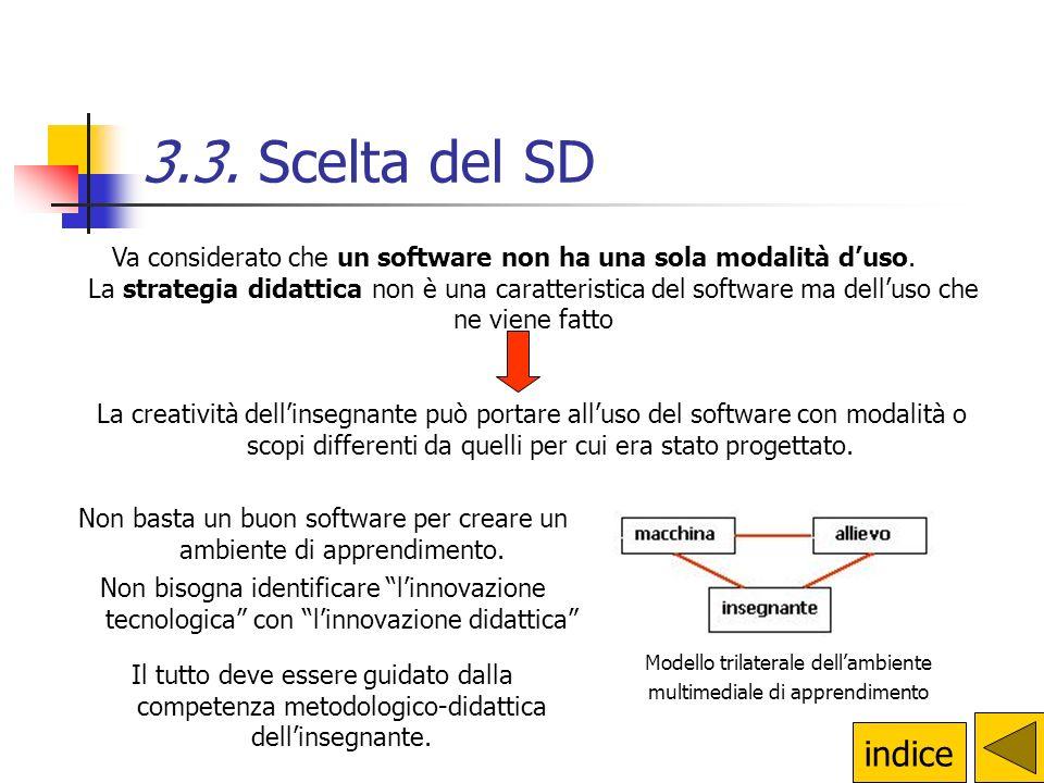 3.3. Scelta del SD Va considerato che un software non ha una sola modalità d'uso. La strategia didattica non è una caratteristica del software ma dell