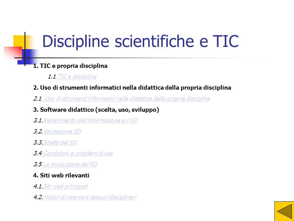 1. TIC e propria disciplina 1.1.TIC e discipline.TIC e discipline 2. Uso di strumenti informatici nella didattica della propria disciplina 2.1. Uso di