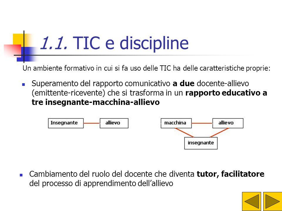 Un ambiente formativo in cui si fa uso delle TIC ha delle caratteristiche proprie: Superamento del rapporto comunicativo a due docente-allievo (emitte