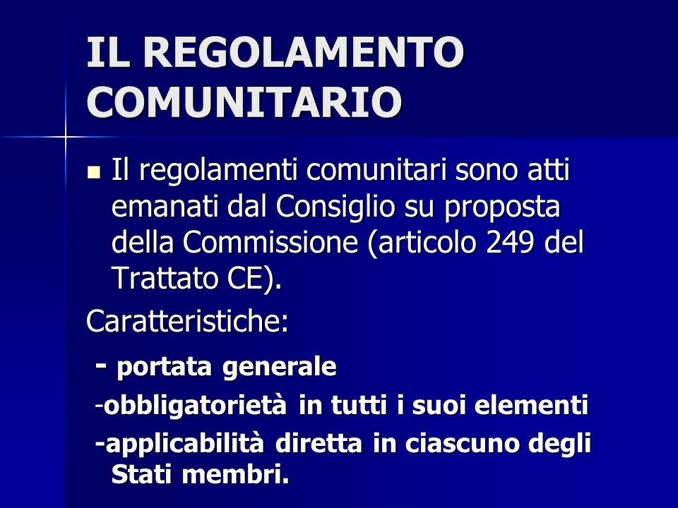 IL REGOLAMENTO COMUNITARIO Il regolamenti comunitari sono atti emanati dal Consiglio su proposta della Commissione (articolo 249 del Trattato CE). Il