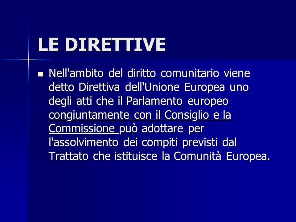 LE DIRETTIVE Nell'ambito del diritto comunitario viene detto Direttiva dell'Unione Europea uno degli atti che il Parlamento europeo congiuntamente con