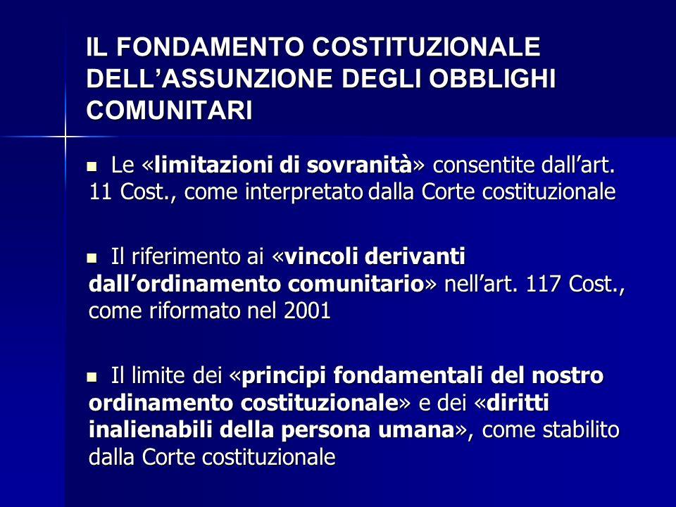 IL FONDAMENTO COSTITUZIONALE DELL'ASSUNZIONE DEGLI OBBLIGHI COMUNITARI Le «limitazioni di sovranità» consentite dall'art. 11 Cost., come interpretato