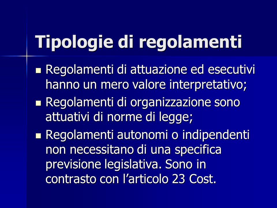 (…segue) Tipologie di regolamenti Regolamenti delegati sono emanati su espressa delega da parte della legge che ne determina i principi direttivi.