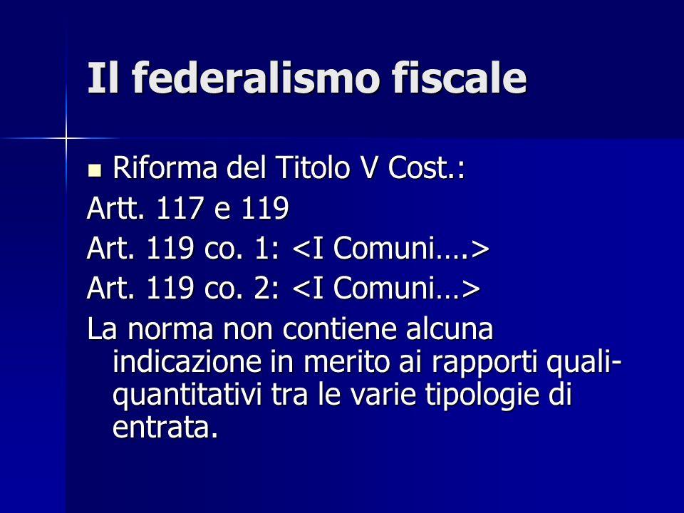 Il federalismo fiscale Riforma del Titolo V Cost.: Riforma del Titolo V Cost.: Artt. 117 e 119 Art. 119 co. 1: Art. 119 co. 1: Art. 119 co. 2: Art. 11