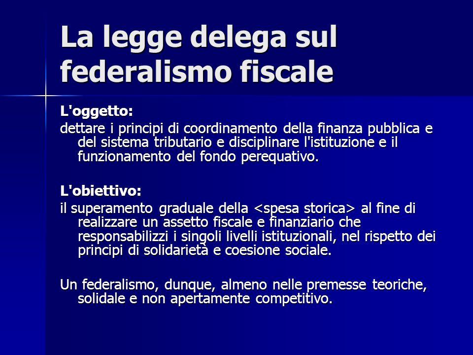 La legge delega sul federalismo fiscale L'oggetto: dettare i principi di coordinamento della finanza pubblica e del sistema tributario e disciplinare