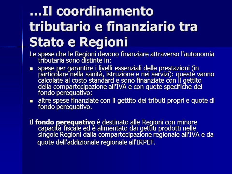 …Il coordinamento tributario e finanziario tra Stato e Regioni Le spese che le Regioni devono finanziare attraverso l'autonomia tributaria sono distin