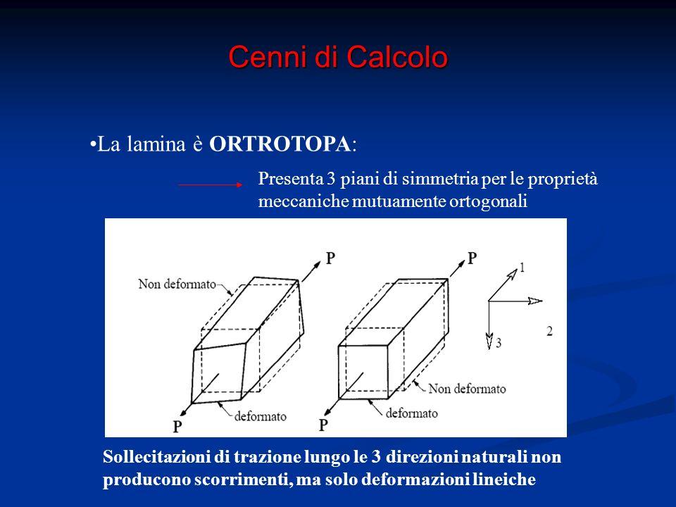 Cenni di Calcolo La lamina è ORTROTOPA: Presenta 3 piani di simmetria per le proprietà meccaniche mutuamente ortogonali La lamina è TRASVERSALMENTE ISOTROPA: tutte le direzioni nel piano trasversale sono invarianti