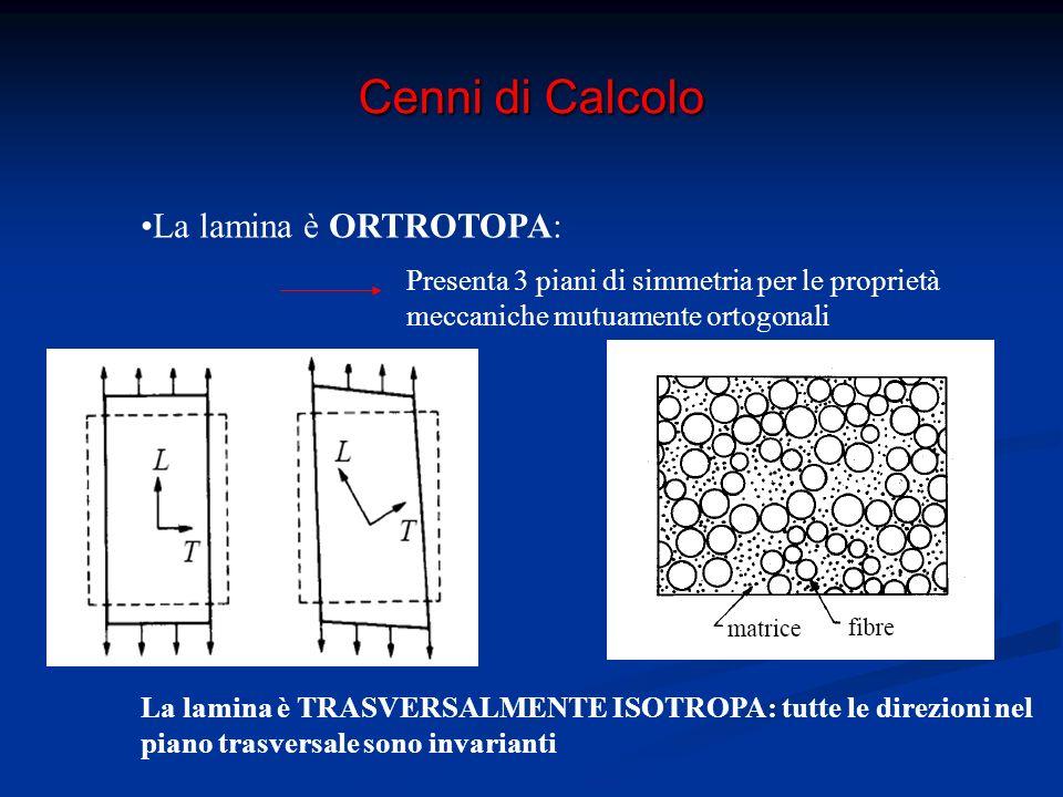 Cenni di Calcolo Micromeccanica della Lamina: Studio delle principali proprietà meccaniche della lamina a partire da quelle di Fibra e Matrice e dalla loro interazione E f,E m,R m,R f,ν f, ν m,ρ f, ρ m,G m,G f E 1,E 2,R 1,R 2,ρ,ν 12,G 12 La lamina viene considerata macroscopicamente omogenea Fibre e Matrice singolarmente sono considerate : Omogenee Elastico lineari Isotrope