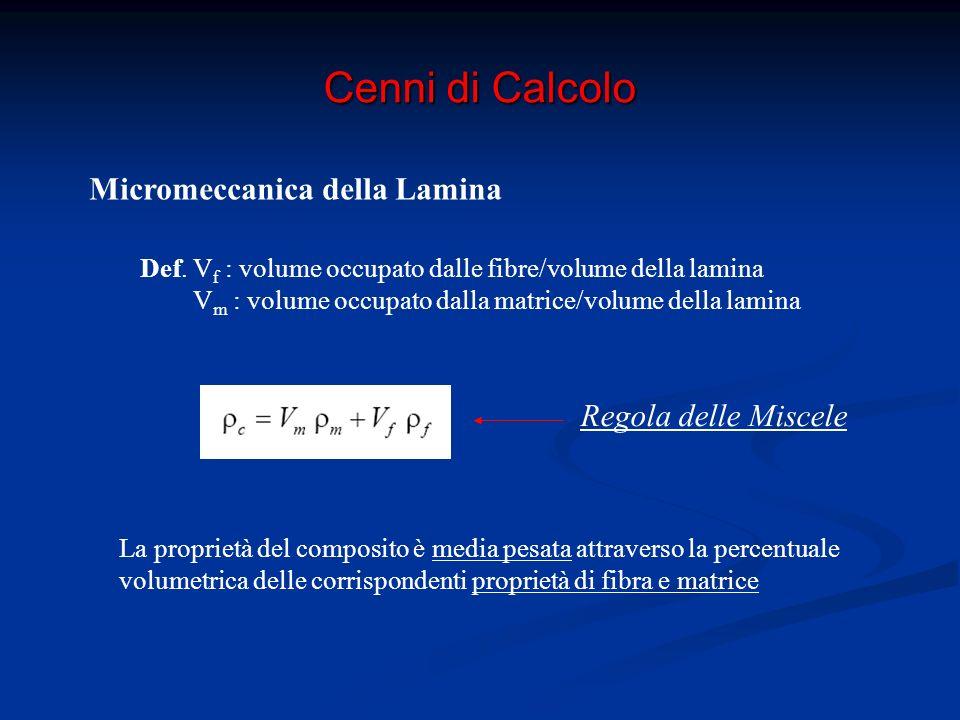 Cenni di Calcolo Micromeccanica della Lamina Dir 1: fibra e matrice agiscono in parallelo E 1 = E f V f + E m V m ν 12 = V f ν f + V m ν m R c = R f V f + R (f) m (1-V f )