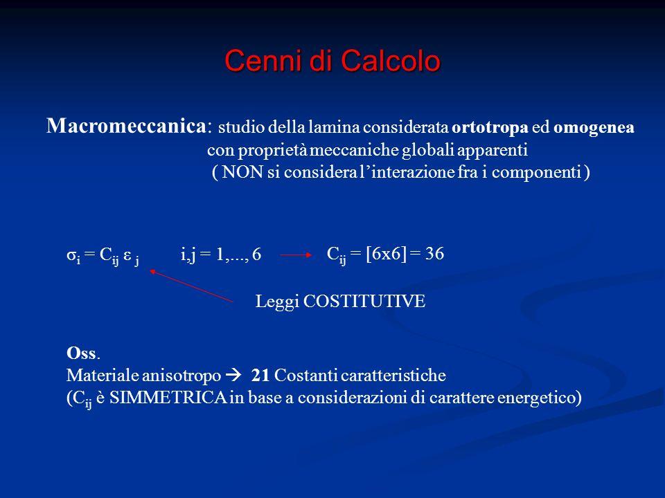 Cenni di Calcolo Lamina ortotropa: la presenza di tre piani di simmetria mutuamente ortogonali riduce a 9 il numero delle costanti caratteristiche Oss.