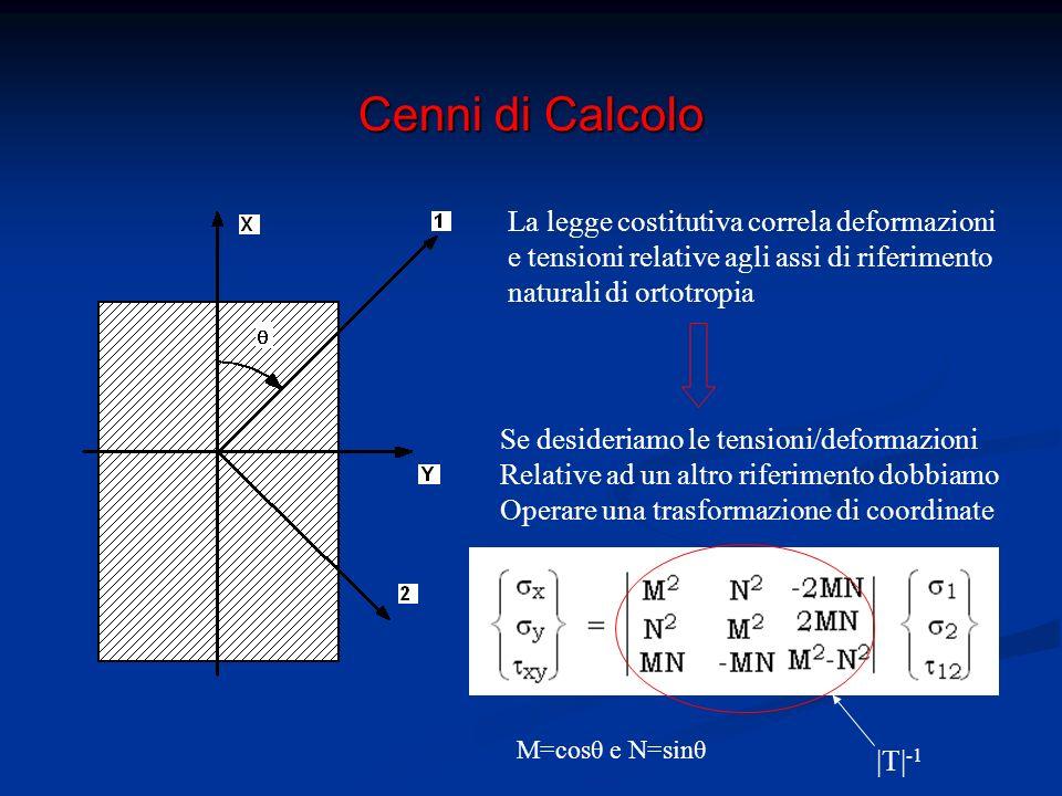 Cenni di Calcolo La legge costitutiva correla deformazioni e tensioni relative agli assi di riferimento naturali di ortotropia Se desideriamo le tensioni/deformazioni Relative ad un altro riferimento dobbiamo Operare una trasformazione di coordinate = |T|-1