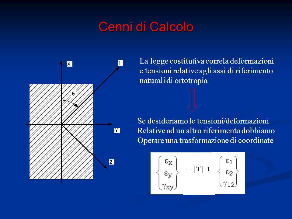 Cenni di Calcolo = |T| -1 = |T| -1 |Q|= |T| -1 |Q||T| Matrice di legame costitutivo trasformata Rispetto al generico sistema di riferimento x-y